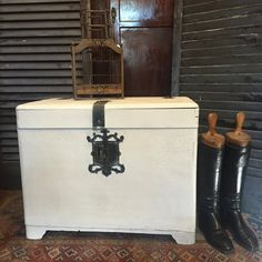 Vintage White Hand Painted Asian Inspired Wooden Trunk Chest Coffee Table…