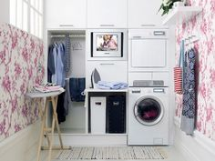 Minimalist Laundry Room With Storage with Storage Drawer Shelves A Washing Machine A Tv And Iron