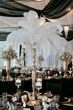 Candelabra wedding centerpieces ostrich feathers - New Sites Roaring 20s Wedding, Great Gatsby Wedding, Gatsby Party, 1920s Wedding Decor, Gatsby Wedding Decorations, Great Gatsby Themed Party, 20s Party, Flower Decorations, Candelabra Wedding Centerpieces