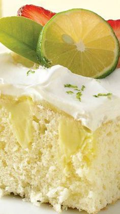 Key Lime Poke Cake ~ Bring the great flavor of key lime pie to a wonderful white cake... It's refreshing and fantastic!