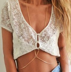 Two chains down the torso beautifully wrapping around your waist. Wear it with a…