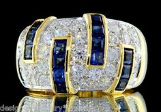 Damiani 3 50ctw Ceylon Sapphire Colorless Diamond 18K Gold Anniversary Ring | eBay
