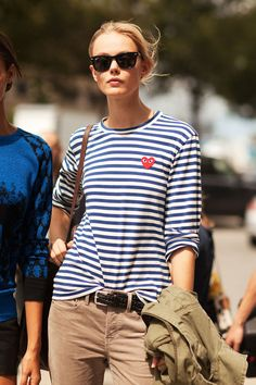 School style tip: Take a cue from model Frida Gustavsson, and pair a Parisian-chic striped tee with relaxed pants for a casual-cool Friday look. Get more street style-inspired outfit ideas here»