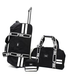 OMG!! shut up and take my money!!! Victoria's Secret PINK 3 piece Luggage Travel Set Wheelie Duffle Bag Black Logo in | eBay