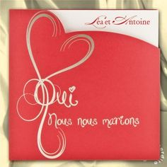 Faire-part de mariage pochette Oui rouge et or - MK13-020