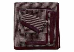 Marc O'Polo Handdoeken Timeless Tone Stripe deep plum/oatmeal