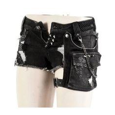 Visual Kei mini shorts black