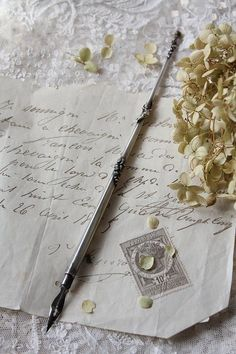 1890 French writing pen w/ angel & floral garland detail