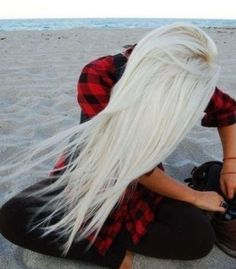 long bleach blonde hair #white