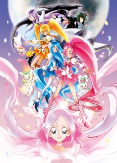I love this art of the main Cures from Heartcatch Precure!