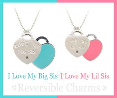 Love your sister? Great gift idea for Valentine's Day! I Love My Big Sis & I Love My Lil Sis reversible charms- by Navika Girl. Get these charms as a necklace or bracelet.
