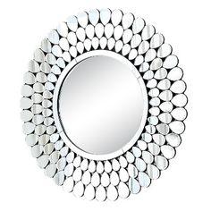 Abbyson Michaela Round Mirror - Light Silver