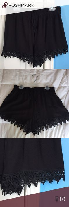 """Black lace embroidered shorts Black shorts, lace detail, stretch waist with tie. 11"""" top to bottom. Papaya Shorts"""
