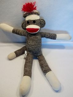 "Schylling Red and White knit sock monkey 22"" plush toy doll"