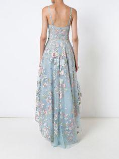 Vestido longo com bordado floral