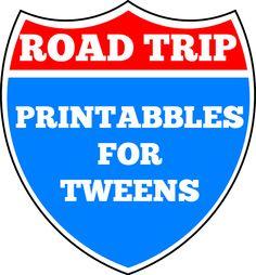 Road trip printables for tweens