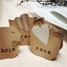 Wedding name place cards birds on Etsy, $0.50 AUD