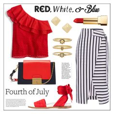 """""""Red, White & Blue: Celebrate the Fourth"""" by pat912 ❤ liked on Polyvore featuring Warehouse, J.Crew, Marques'Almeida, Mulberry, Luv Aj, Yves Saint Laurent, Shashi, fourthofjuly and polyvoreeditorial"""
