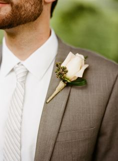 Groom In Grey Wedding Suit With Flower Small Chest Pocket Snaps