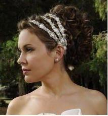 Stunning Swarovski crystal beaded wedding hair headband(s).  Alyssa Milano looked amazing at her wedding.