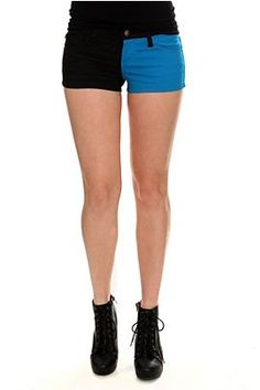 Tripp Black And Turquoise Split Shorts