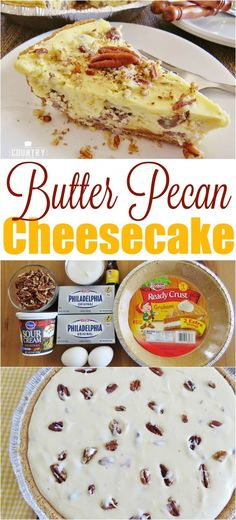 Easy Butter Pecan Cheesecake Butter Pecan Cheesecake recipe from The Country Cook Cupcakes, Cupcake Cakes, Bundt Cakes, Easy Desserts, Delicious Desserts, Dessert Recipes, Cook Desserts, Southern Desserts, Butter Pecan Cheesecake Recipe