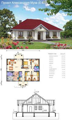Проекты домов и коттеджей Modern Bungalow House Design, 4 Bedroom House Designs, Bedroom House Plans, Small House Design, Dream Home Design, Town House Plans, House Plans One Story, Small House Plans, House Floor Plans