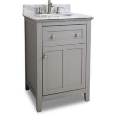 View the Jeffrey Alexander VAN102-24-T Chatham Shaker Collection 24 Inch Wide Bathroom Vanity Cabinet with Counter Top and Sink (Faucet Not Included) at FaucetDirect.com.