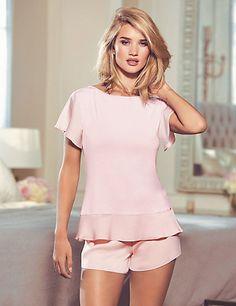 Satin Peplum Top & Short Pyjamas | M&S