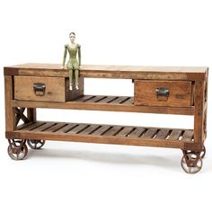 Reclaimed Factory-Style Console Table