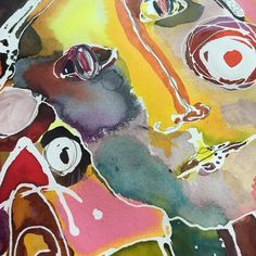 Playing around with some new color combinations. Detail of work in progress. Watercolor ink and acrylic.