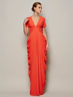 83e8576136c Draped Mother of the Bride Dress with Short Sleeves