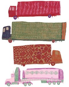 this person's art reminds me a lot of what my dad draws/illustrates. I'm also obsessed with these utility trucks in fun patterns! // patterns - walkyland (monika forsberg)