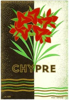 Chypre, art deco French perfume label, old original circa 1929, Flowers Historic