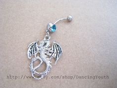 Dragon Charm Belly Button Ring, Crystal Belly Ring,