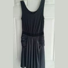 Alexander Wang Steel Gray Cotton/Silky Tank Dress Effortless. Form flattering dress with cotton tank style top, gathered bottom. Bottom is ruched, metallic silky material.  Really great dress!  Excellent condition.   Side zip close.  Size: Small Alexander Wang Dresses