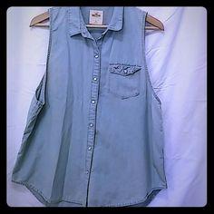 Hollister light denim sleevless top Hollister light denim sleevless button up top;gently used Hollister Tops Button Down Shirts