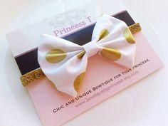 Girls/Baby Headband White/Gold Polka Dot by BowtiquebyprincessT, $9.90