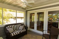 Traditional Porch with French doors, Screened porch