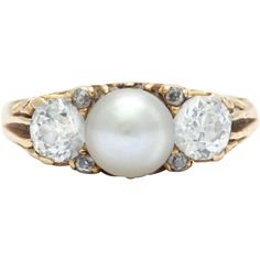 Preowned Victorian Pearl Diamond Gold Ring Circa 1890 ($3,800) ❤ liked on Polyvore featuring jewelry, rings, multiple, victorian ring, yellow gold rings, gold pearl ring, pearl diamond ring and victorian diamond ring