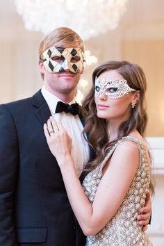 #Masquerade Party on Style Me Pretty - SO fun!! See all the pretty here: http://www.stylemepretty.com/new-york-weddings/new-york-city/manhattan/2013/12/27/3-west-club-engagement-party-inspiration/ | Photography: Charlie Juliet