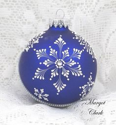 Dark Blue MUD Texture Painted Snowflakes Ornament with Bling