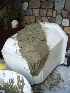 Concrete draping tutorial tests of 8 kinds of different fabrics amp fibres for portland cement dipping to make draped concrete pots or characters – ArtofitGorgeous textured round and square concrete planters made with silicone molds. Diy Concrete Planters, Cement Pots, Concrete Cement, Outdoor Planters, Garden Planters, Outdoor Decor, Outdoor Furniture, Modern Furniture, Antique Furniture