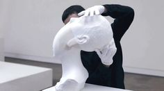 At a glance, Li Hongbo's sculptures resemble typical white plaster busts. Take hold of one, and pull it (the sort of behavior liable to have one jettisoned from most galleries, admittedly), and you'll find they're altogether less rigid and static…
