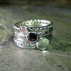 English Rose - set of 3 pattern wire stacking rings with pink tourmaline, rose cut red garnet, and green prehnite.     ...from LavenderCottage on Etsy