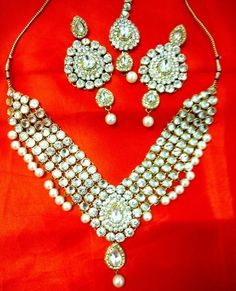 Bridal & Wedding Party Jewelry Engagement & Wedding Hearty Women Bollywood Jewelry Necklace Earrings Set
