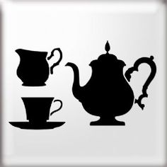 Teapot and Teacups Silhouette Stencil