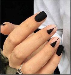 Stylish Nails, Trendy Nails, Cute Nails, Black Nail Designs, Short Nail Designs, Simple Nail Designs, Matte Black Nails, Pink Nails, Black Nails Short