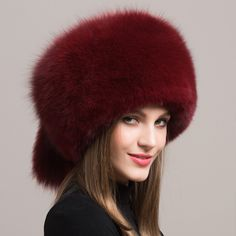 Fashion Women Fox Fur Hat Russian Real Fox Fur Genuine Leather Hats For Women Protect Earflap Warm Beanies Hat Caps BSD112