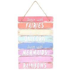 WOODEN SIGN PLAQUE FAIRY MERMAID UNICORN RAINBOW BEACH HUT STYLE INSPIRE DECOR   eBay